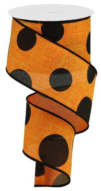 "2.5"" x 10yd Linen Giant Dot Ribbon: Orange/Black"