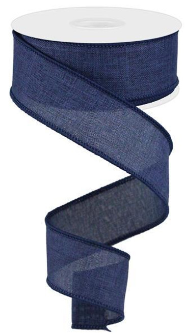 "Navy Blue Royal Faux Burlap Ribbon - 1.5"" x 10Yd"