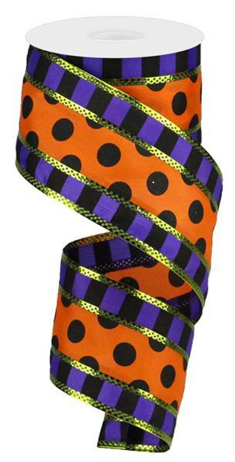 3 in 1 Polka Dot Stripe Ribbon: Purple/Orng/Blk - 2.5""
