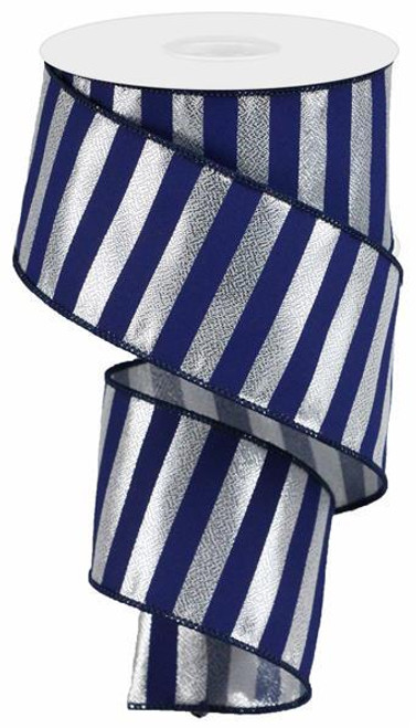 "2.5"" Metallic Horizontal Stripe Ribbon: Navy/Silver"