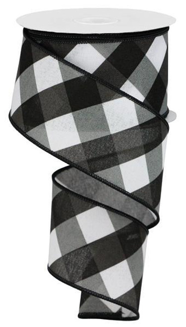 "2.5"" Diagonal Check Ribbon: White/Black/Grey - 10yds"