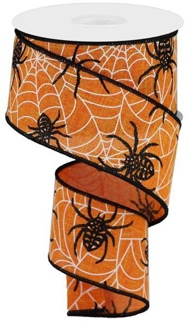 "2.5"" Spider on Web Ribbon: Orange - 10yd"