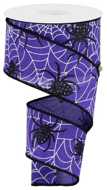 "2.5"" Spider on Web Ribbon: Purple - 10yd"