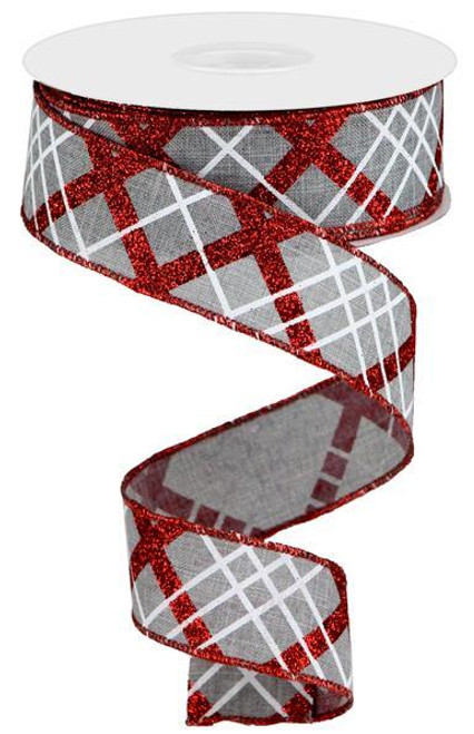"1.5"" Diagonal Glitter Plaid Ribbon: Grey/Red/White - 10yd"