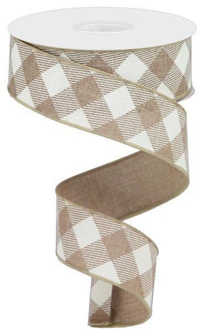"1.5"" Diagonal Check Ribbon: Lt Beige/Ivory - 10Yds"