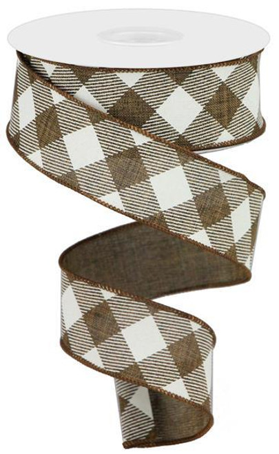 "1.5"" Diagonal Check Ribbon: Brown/Ivory - 10Yds"