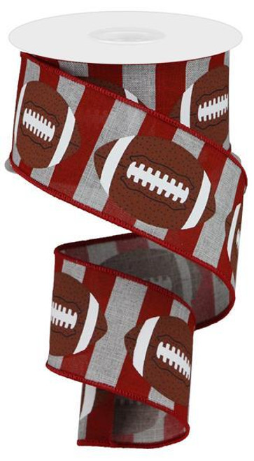 "2.5"" Football Stripe Ribbon: Lt Grey/Crimson - 10Yd"