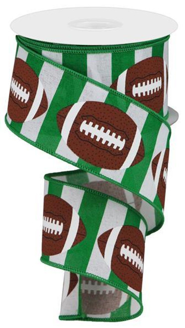 "2.5"" Football Stripe Ribbon: Green/White - 10Yd"