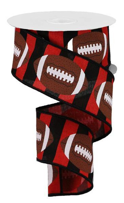 "2.5"" Football Stripe Ribbon: Red/Black - 10Yd"