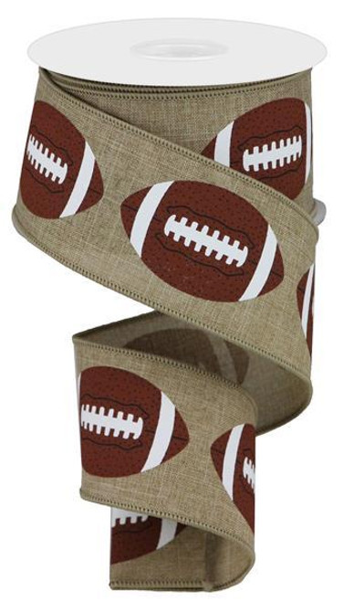"2.5"" Bold Football Ribbon: Lt Beige - 10Yd"