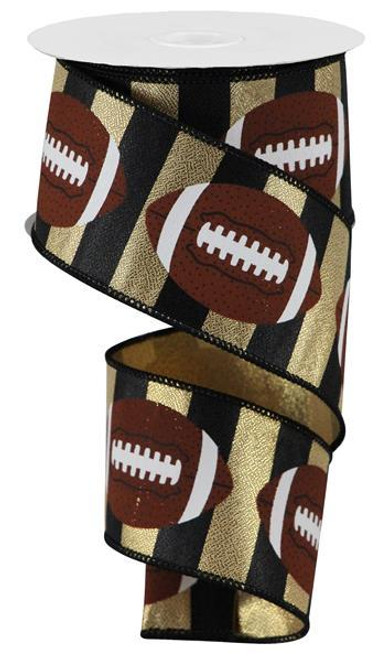 "2.5"" Football Stripe Ribbon: Gold/Black - 10Yd"