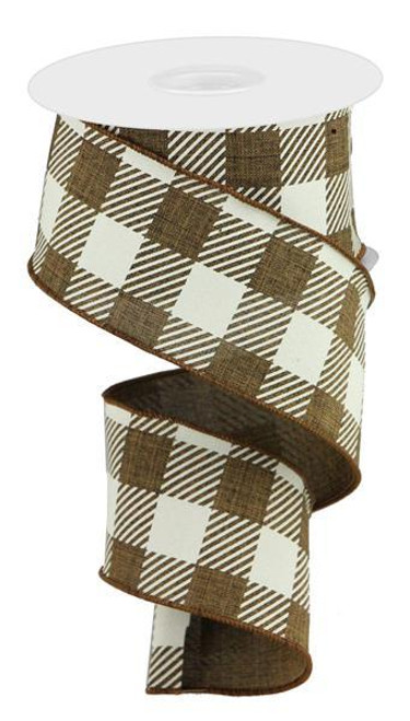 "2.5"" Striped Check Ribbon: Brown/White - 10Yds"