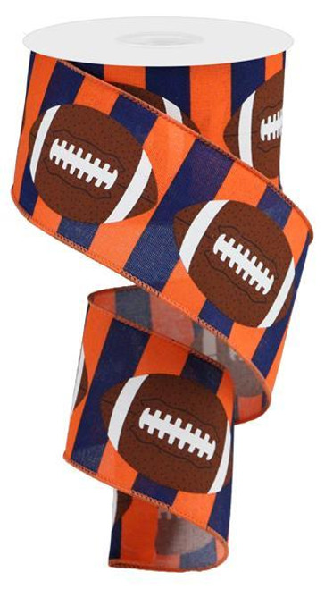 "2.5"" Football Stripe Ribbon: Navy/Orange - 10Yd"