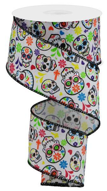 """2.5"""" Day of the Dead Linen Ribbon"""
