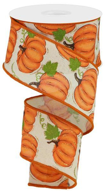 "2.5"" Pumpkin Patch Ribbon: Cream/Orange- 10yds"