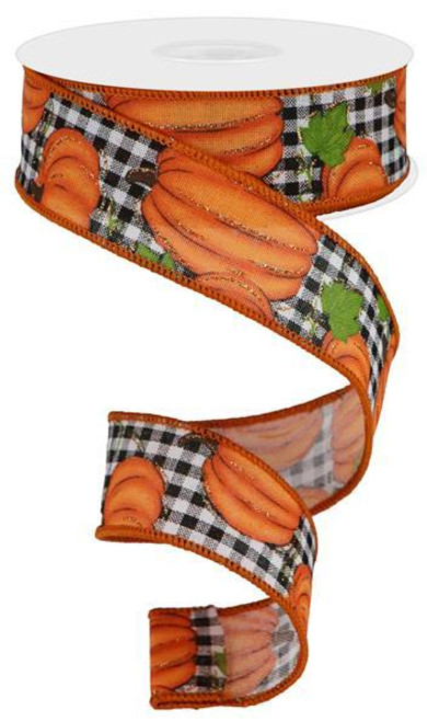 "1.5"" Pumpkin Patch Ribbon: White/Black Check - 10yds"