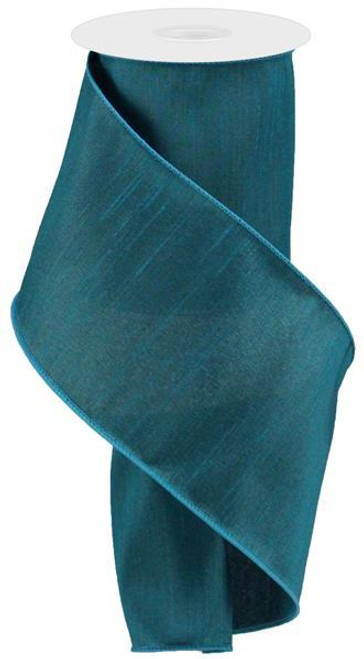 "4"" Faux Dupioni Ribbon: Teal - 10 YD"
