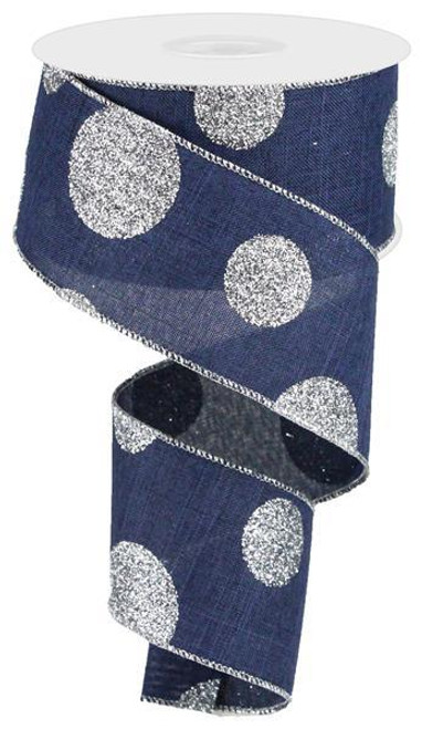 "2.5"" x 10yd Linen Giant Dot Ribbon: Navy Blue/Glitter Silver"