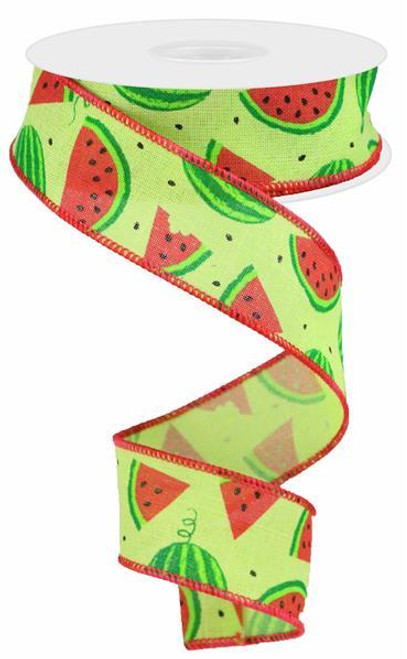 "1.5"" New Watermelon Slices Linen Ribbon - 10Yds"