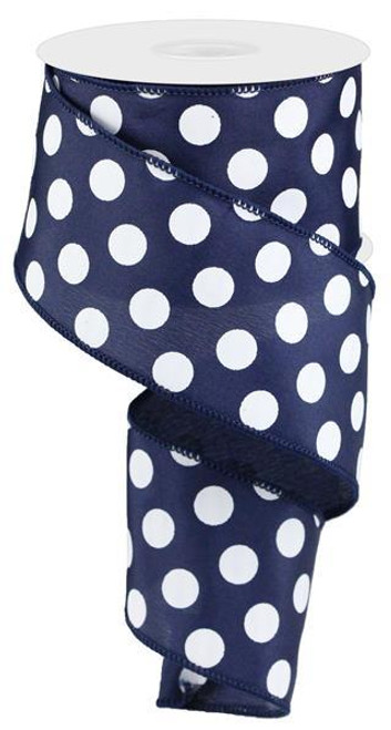 "Navy Blue and White Polka Dot Satin Ribbon Wired 2.5"" x 10Yds"