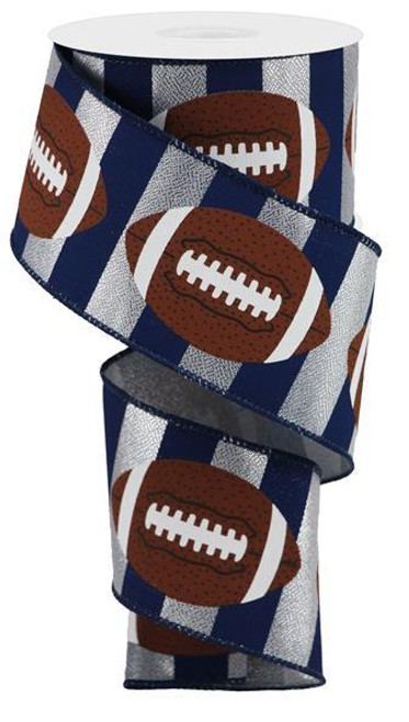"2.5"" Football Stripe Ribbon: Navy Blue/Silver - 10Yd"