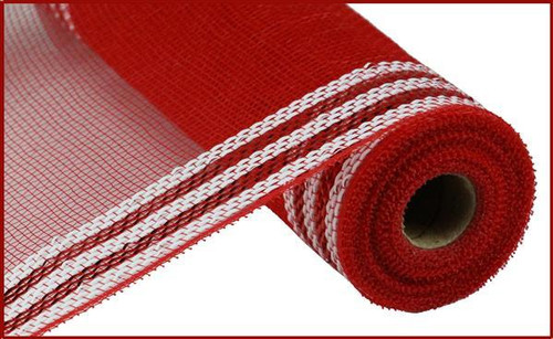 "10.5"" Metallic Border Mesh: Red/White"
