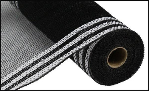 "10.5"" Metallic Border Mesh: Black/White"