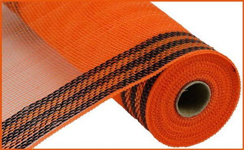 "10.5"" Metallic Border Mesh: Orange/Black"