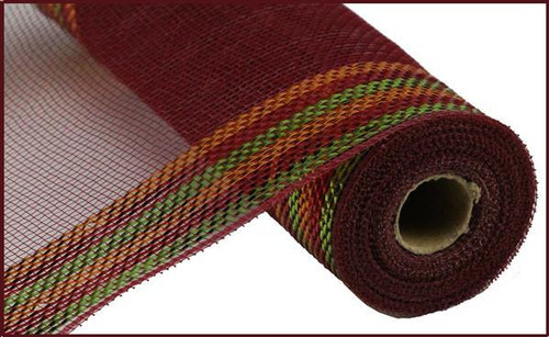 "10.5"" Metallic Border Mesh: Burgundy/Copper/Moss"