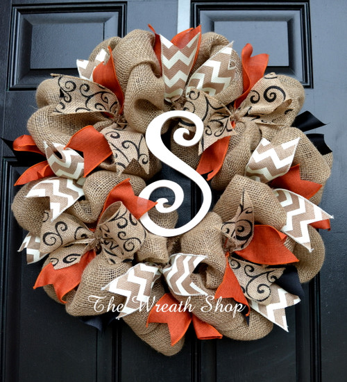 Fall Burlap Monogram Wreath