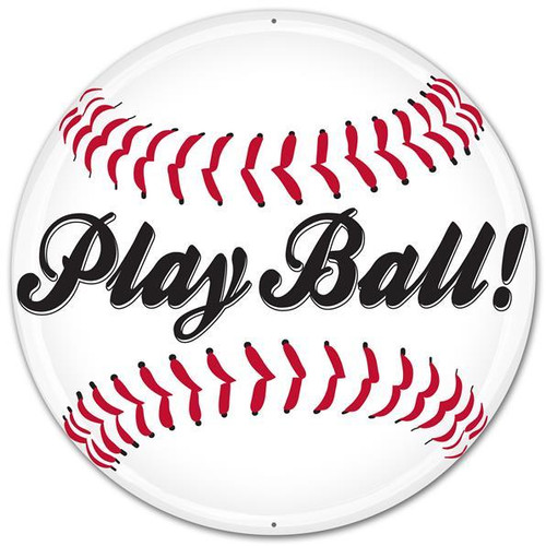 "12"" Metal Play Baseball Sign"