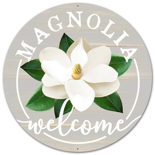 "12"" Metal Welcome Magnolia Sign"