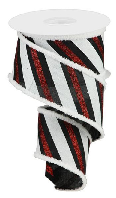 "2.5"" Diagonal Glitter Stripe Ribbon: Black/Red/Wht - 10yd"