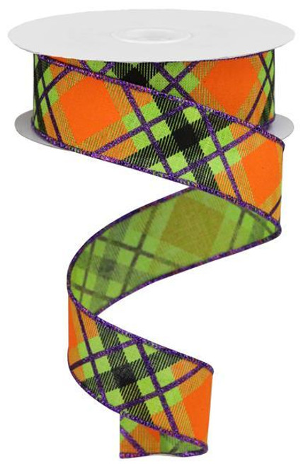 "1.5"" Diagonal Glitter Plaid Ribbon: Lime/Prpl/Orng - 10yd"