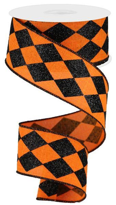 "2"" Glitter Harlequin Ribbon: Orange/Black - 10yds"