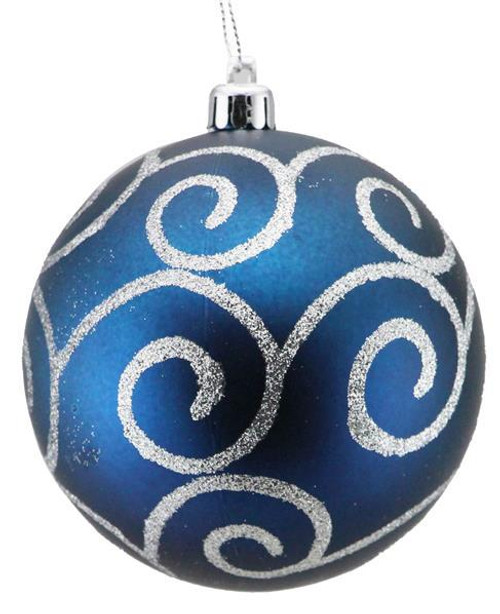 100mm Glitter Scroll Swirl Ball Ornament: Matte Smoke Blue/Silver