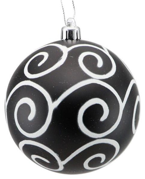 100mm Glitter Scroll Swirl Ball Ornament: Matte Black/White