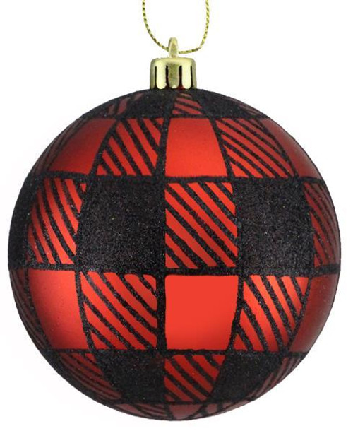 100mm Striped Check Ball Ornament: Red/Black