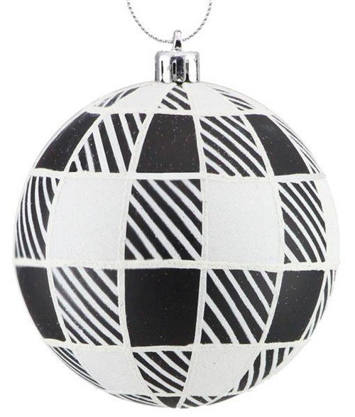 100mm Striped Check Ball Ornament: Black/White