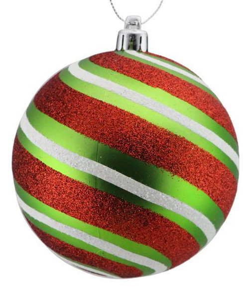 100mm Glitter Stripe Ball Ornament: Lime/Red/White