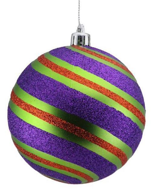 100mm Glitter Stripe Ball Ornament: Lime/Purple/Orange