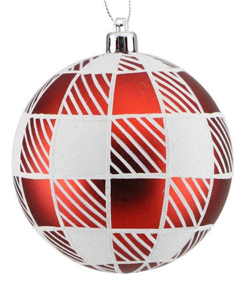 100mm Striped Check Ball Ornament: Red/White