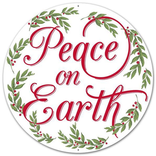 "12"" Metal Peace On Earth Christmas Sign"