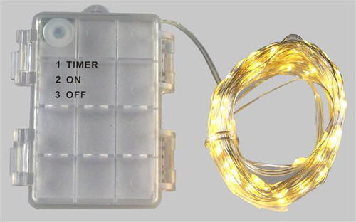 40'L Mini LED 100 Light: Warm White, Silver wire