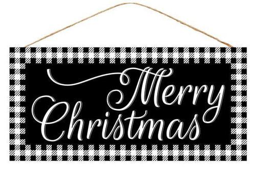 "12.5"" Blk/Wht Merry Christmas Sign"