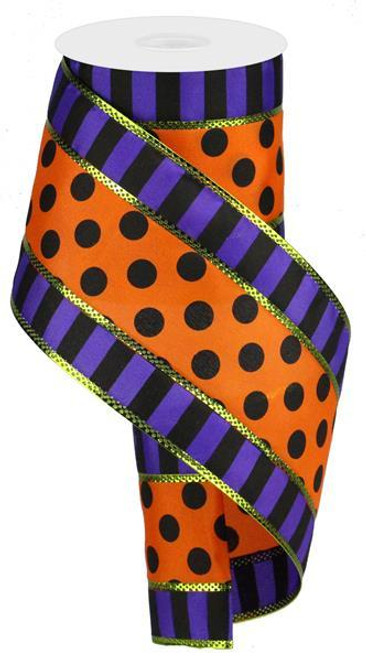 3 in 1 Polka Dot Stripe Ribbon: Purple/Orng/Blk - 4""