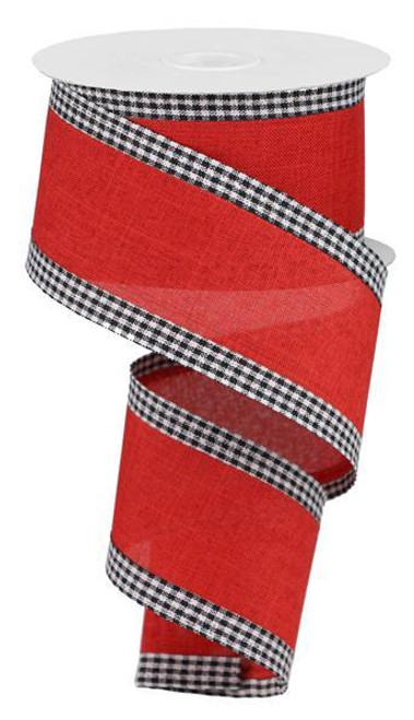 "2.5"" Solid Linen Gingham Edge Ribbon: Red/Blk/Wht"
