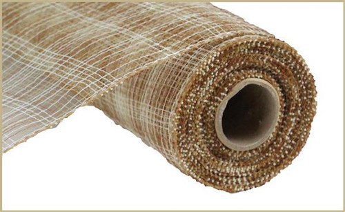 "10"" Deco Poly Mesh: Multi Stripe Natural/Ivory/Brwn"