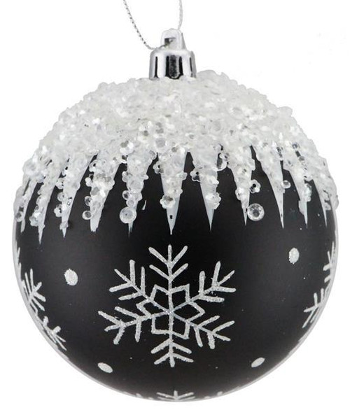 100mm Snowflake/Icicle Ball Ornament: Black/Wht