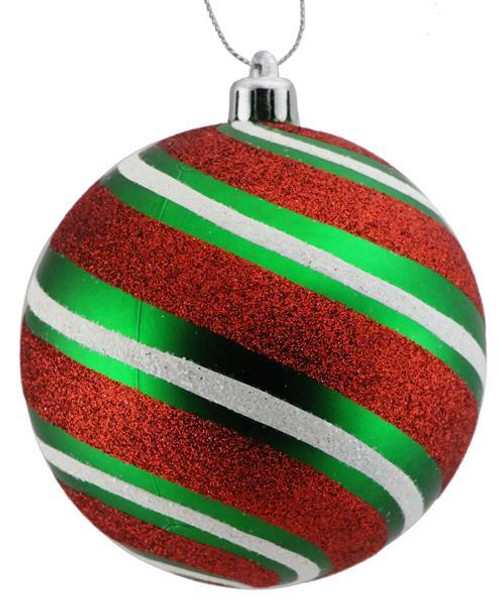 100mm Glitter Stripe Ball Ornament: Emerald/Red/White